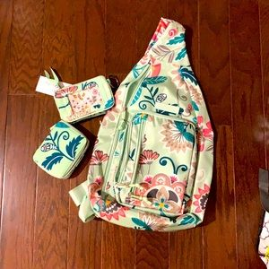 Vera Bradley mint flowers sling Back Pack